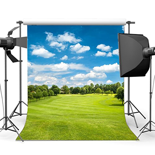 Spring Backdrop Jungle Forest Blue Sky White Cloud Green Grass Meadow Outdoor Wedding Ceremony Photography Background for Kids Lover Picnic and Hiking Photo Studio Props KX420 (Meadow Green Display)