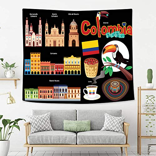 BEIVIVI Colorful Art Design Tapestry Colombia Symbols Wall Tapestry with Art Nature Home Decorations -