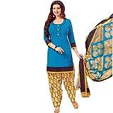 Designer Printed Cotton Salwar Kameez Ready Made Suit Indian Dress – 0X Plus, Blue