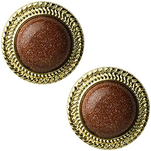 (MIUPER BLOsssM 14K Yellow Gold Plated Alloy Vintage Brown Goldstone Rondelle Big Round Stud Earrings for Women 18mm )