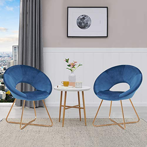 Set of 2 Velvet Dinning Chair,Accent Arm Chair Mid-Back Support Modern Leisure Upholstered Chair with Gold Plating Legs Blue