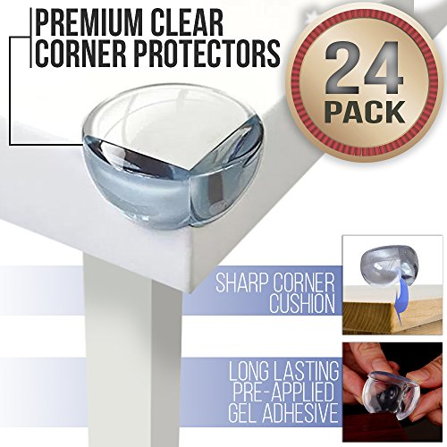 Baby Proofing Clear Corner Guards for Kids with Extra-Strong Glue (24 Pack) | Impact-Absorbing Child Furniture Bumpers | Surface-Friendly Adhesive | Discreet Safety Edge Protector Cushion (Island Coffee Finish)
