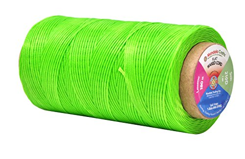 Lime Green String - Mandala Crafts 150D 210D 0.8mm 1mm Leather Sewing Stitching Flat Waxed Thread String Cord (210D 1mm 180M, Lime Green)