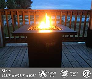 """Portable Propane Gas Fire Pit Table - 48,000 BTU Gas Firepits Grill, Outdoor Tabletop Fireplaces w/Strong Bronze Steel Frame, CSA Certification Approval,for Courtyard BBQ (28.7"""" 28.7"""" 25"""", Bronze)"""