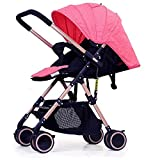QIQI One-Hand Folding Stroller Ultra-Light Can Sit Reclining Umbrella High Landscape Baby Stroller Shock Child Baby Stroller Can Be On The Aircraft Can Be Adjusted in Both Directions,Pink