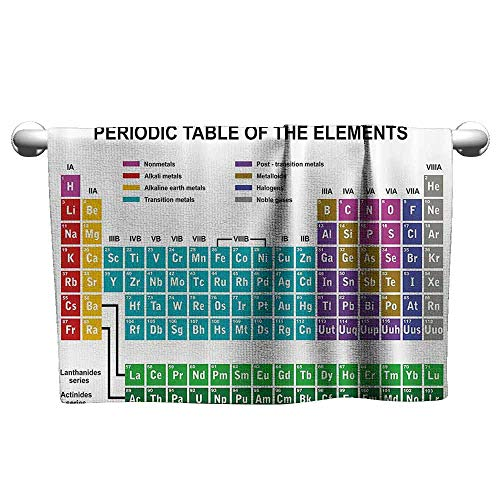 duommhome Periodic Table Water-Absorbing Bath Towel Educational Artwork for Classroom Science Lab Chemistry Club Camp Kids Print W10 x L39 Multicolor