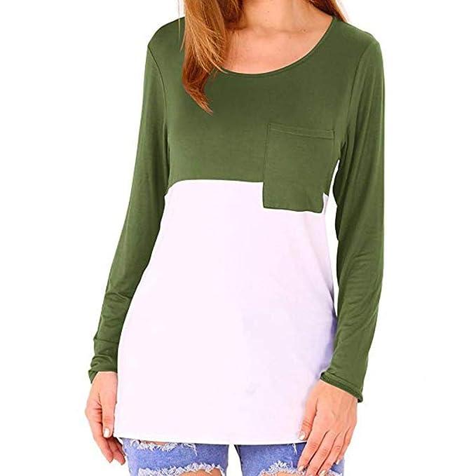 TEBAISE Damen T-Shirts Sommer Basic V-Ausschnitt Farbblock Casual Kurzarm  Oberteil Bluse Oberteile a0b98227b7