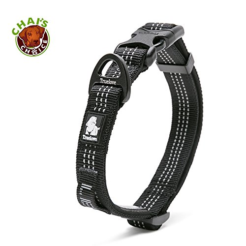 Chais Choice Best Outdoor Adventure Pet Collar 2018 Model! 3M Reflective with Aluminum Leash Attachment. Matching Harness and Leash Available! (Large, Black)