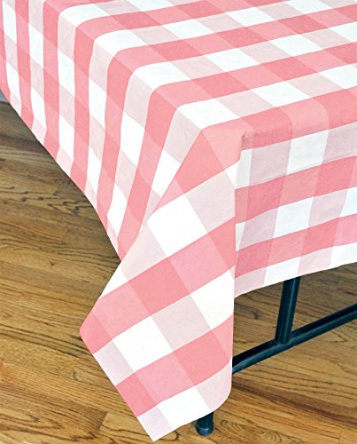 Havercamp Pink and White Disposable Plaid Tablecloth (108