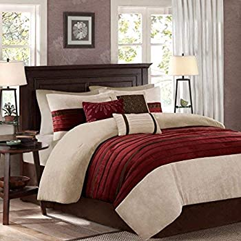 e6fdbc5bd58 Amazon.com  Madison Park Boulder Stripe 7 Piece Comforter Set Red ...