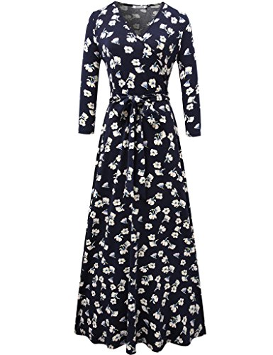 Aphratti Women's 3/4 Sleeve Vintage Wrap Long Maxi Dress with Belt Navy Medium