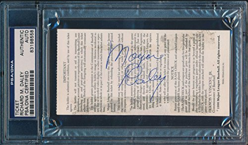 Mayor Richard Daley Signed 1990 Chicago Cubs All Star Game Ticket #8558 - PSA/DNA Certified - MLB Autographed Miscellaneous Items 1990 Mlb All Star Game