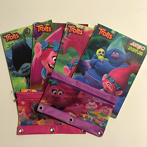 Trolls Coloring Books And 3 Ring Pencil Case Bundle Pack (6 Items) (College Girl Halloween Pics)