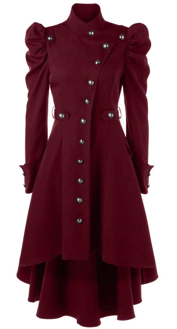Bigbarry Women's Single Breasted Steampunk Victorian Swallow Tail Long Trench Coat