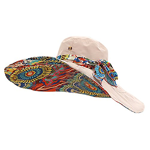 iShine Women s Foldable Floppy Reversible Travel Beach Sun Visor Hat Large  Wide Brim Shade UPF 50+ Beige  Amazon.co.uk  Clothing f7712d4ed82d