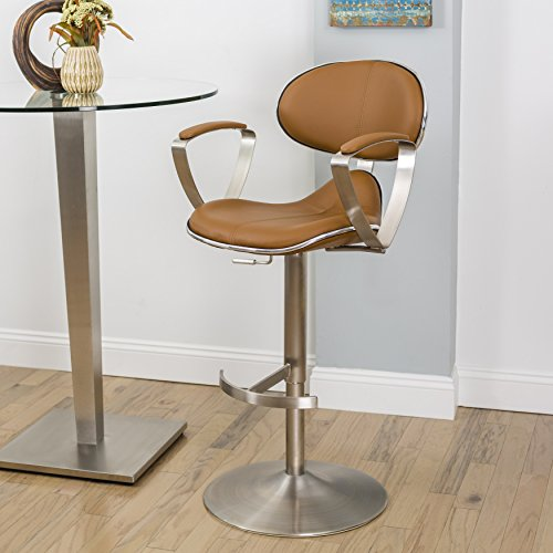 Jaylo Camel Adjustable Height Swivel Stool - Swivel Stool Stainless Steel Backrest