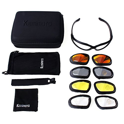 KEMIMOTO Non-Polarized Riding Goggles Sports Sunglasses, Motorcycle Riding Glasses Goggle With 4 Lenes Kits for Men Women Cycling Running Driving Fishing Golf Baseball Glasses by KEMIMOTO