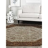 Rugsotic Carpets Hand Tufted Woolen Octagon 8x8 Area Rug Vintage Beige Brown K00526