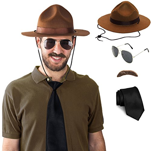 State Trooper Costume - 4 Pc Set - Canadian Mountie Costume - Park Ranger Costume - Highway Patrol Costume (Drill Sergeant Costumes)