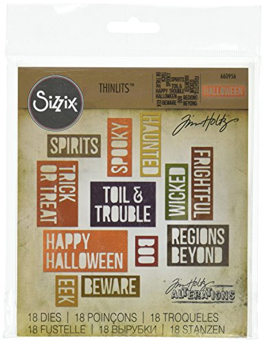 Sizzix 660956 Thinlits Die Set, Halloween Words, Block by Tim Holtz, 18-Pack