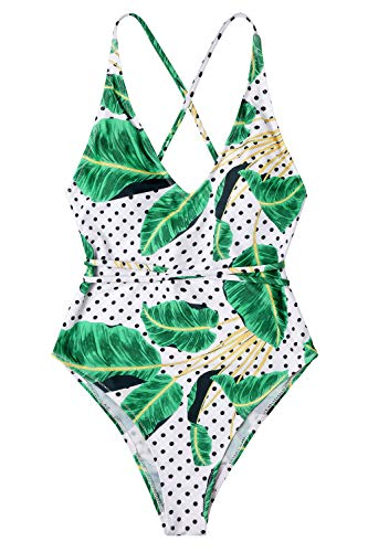 Lemonfish Monokini Swimsuits for Women Deep V Spaghetti Straps Tie Back Cross Cutout Cheeky Prints One Piece Bathing Suit (Green, M)