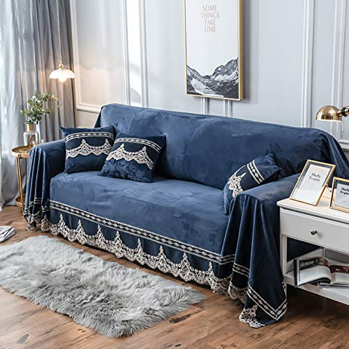 JYPHM Plush Couch Cover Vintage lace Suede Sofa Slipcover Anti-Slip Solid Color Sofa Cover Anti-Dust Stain-Proof Furniture Protector for Pet Dog & Kids Dark Blue 200x380cm(79x150inch) (Velvet Sofa Vintage)