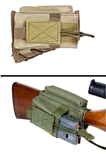 Ultimate Arms Gear Cheek Rest Riser Pad with Tactical/Military Magazine Ammo Pouch Holder Carrier Stock Buttstock, Desert Tan