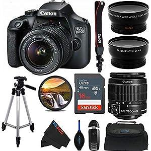 Canon EOS 4000D DSLR Camera with 18-55mm f/3.5-5.6 III Lens + 50-Inch Tripod + Pixi Advanced Bundle (International…