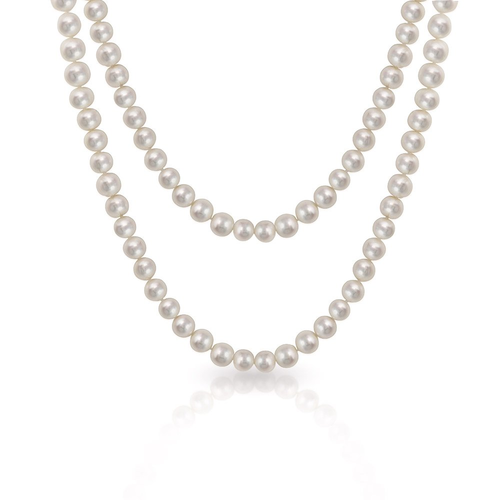 Bling Jewelry 8mm White Freshwater Cultured Pearl Long Necklace Rope 36 Inches IST-N52