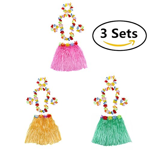 Luau Party Supplies Hula Set Tropical Hawaiian Leis Garland With Silk Flowers Dancer Elastic Grass Skirts 3 Sets