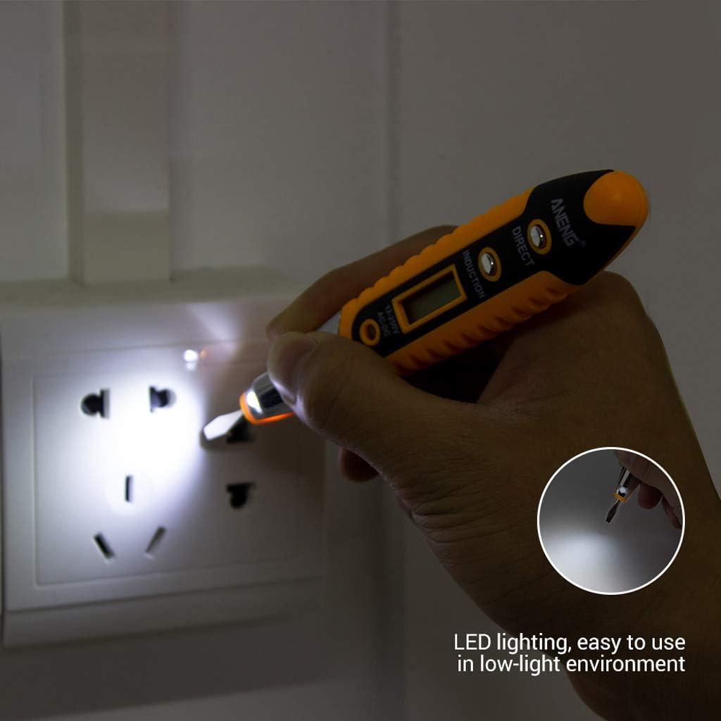 Almencla 2X Elektrisches Diagnosewerkzeug Digitales Voltmeter Durchgangspr/üfer Wechselstrom//Gleichstrom 12 250 V Spannung Bleistift F/ür Stromkreistest