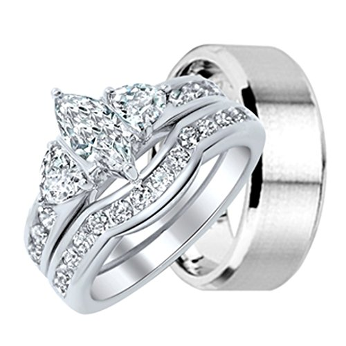 Trillion Center 3 Ring Stone (LaRaso & Co His and Hers Wedding Ring Set Matching Wedding Bands for Him and Her)