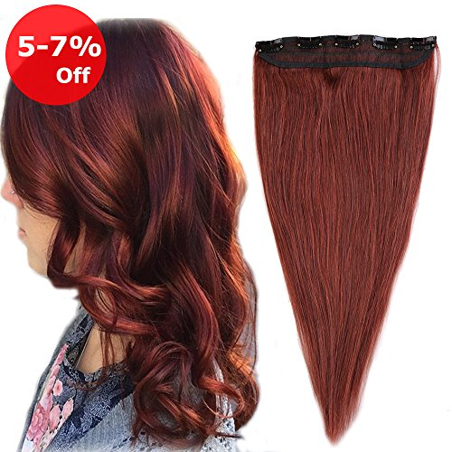 One piece Clip in Hair Extension Human Hair 20'' Dark Auburn #33 On Sale 5 Clips 50g Long Straight Soft Remy Hair Weft Extension Fast - Mall Auburn