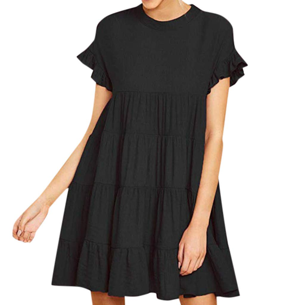 IEasⓄn Womens Dresses Women Solid Color Loose Short Mini Dress Summer Trendy Ruffle Short Sleeve Swing Dress