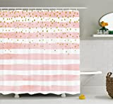 pink and yellow shower curtain - Modern Shower Curtain by Ambesonne, Striped Pattern in Pastel Tones with Vivid Colored Dots Shabby Print, Fabric Bathroom Decor Set with Hooks, 70 Inches, Light Pink White Yellow