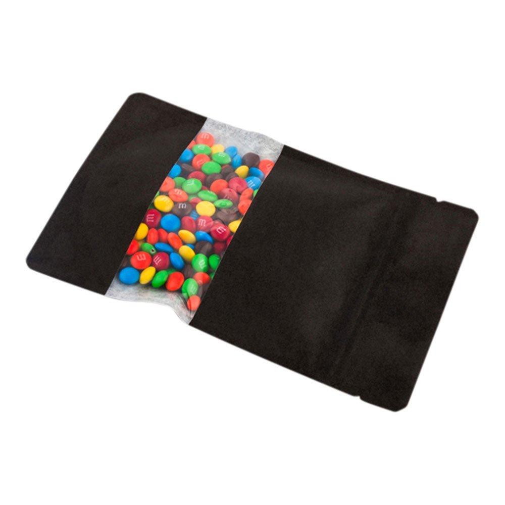 Black Bag with Clear Window, Food Bag, Candy Bag - Heat Sealable - 7.1'' - 100ct Box - Bag Tek - Restaurantware
