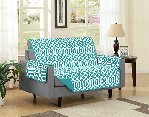 Linen Store Dallas Quilted Reversible Microfiber Furniture Protector With Strap and pockets, Turquoise, Loveseat