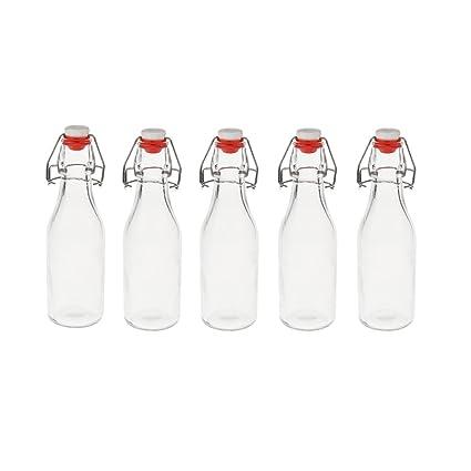 MagiDeal 5pcs Botella de Vidrio Reutilizable Perfecto para Bebidas Líquidas Miel Ingrediente Aceite Vinagre