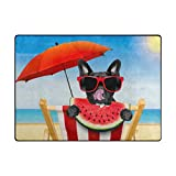 Vantaso Non Slip Nursery Rugs French Bulldog Eat Watermelon Soft Foam Play Mats for Kids Bedroom Boys Girls Playing Room Living Room 63x48 inch