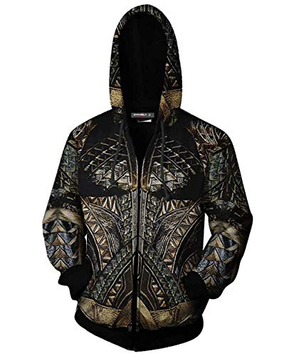 Gurbanton Arthur Curry Hoodie Unisex 3D Printed Hooded Sweatshirt Adult Zip Up Cosplay Costume for Holiday Party (XL) ()