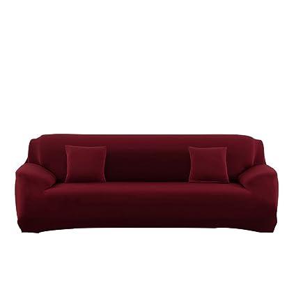 WATTA Sofa Cover Wine Red 4 Seater Slipcover Sofa Couch Stretch Elastic  Polyester Spandex FabricSofa Protector