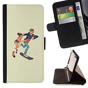 Momo Phone Case / Flip Funda de Cuero Case Cover - Patinaje niños;;;;;;;; - Sony Xperia M4 Aqua