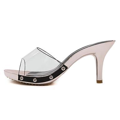 537c7c23b26bb5 Amazon.com  New Slippers Women Black PVC Ladies shoes fashion ...
