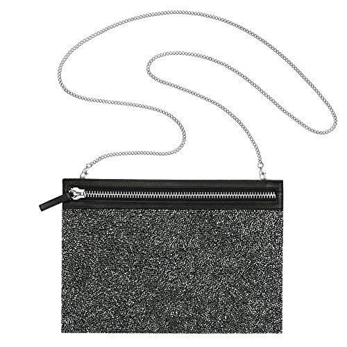 Swarovski Dark Grey Crystals GLAM ROCK BAG Evening Party Bag #5251646