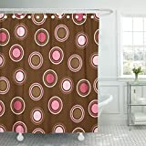 Hot Pink and Brown Shower Curtain TOMPOP Shower Curtain Colorful Spot Brown and Pink Polka Dot Pretty Retro Waterproof Polyester Fabric 78 x 72 inches Set with Hooks