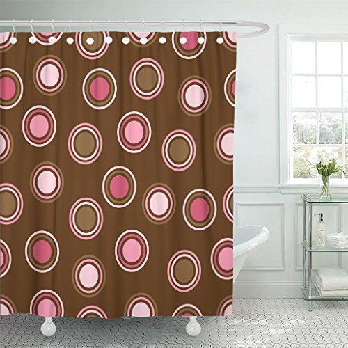 TOMPOP Shower Curtain Colorful Pattern Brown and Pink Polka Dot Spot Pretty Waterproof Polyester Fabric 72 x 72 Inches Set with Hooks
