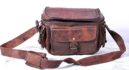 pranjals house Genuine Leather DSLR Padded Camera Bag with Lens partition
