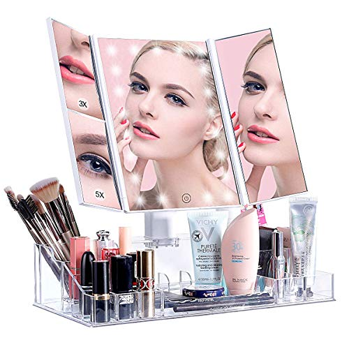 - VICOODA Makeup Vanity Mirror with 21 Led Lights/Lighted Makeup Mirror with Acrylic Makeup Organizer, Touch Screen Dimming, Trifold 3X 5X Magnification Sections, Dual Power Supply, 180 Rotation