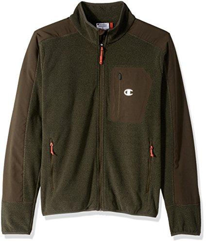 Champion Men's Textured Fleece Jacket, Camouflage Green, Large