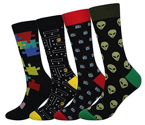 Men's 4 Packs Alien Socks Gift Fun Crazy Novelty Dress Crew Socks Gift (Alien TV Snake Game Puzzle - 4 pairs)